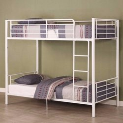White Mild Steel Double Bunk Bed