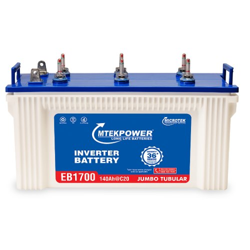 Microtek EB 1700 140Ah Inverter Battery, Microtek Tubular Batteries, Microtek  Batteries, माइक्रोटेक इन्वर्टर बैटरी - Okaya Power Pvt. Ltd., New Delhi    ID: 21056640297