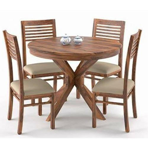 4 Seater Wooden Round Dining Table Set