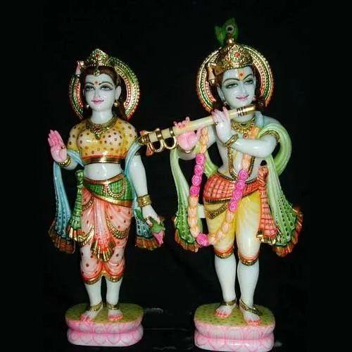 Multicolor Raja Ji Art Gallery Marble Radha Krishna Statue