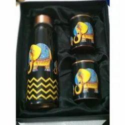 Black Polished Copper Bottle Gift Set, Round