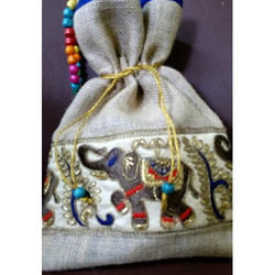 Embroidery Jute String Bag