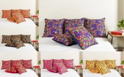 Embroidered Silk Dupioni Cushion Cover