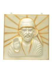 Sai Baba 3D Wall Mural Painting In White And Golden