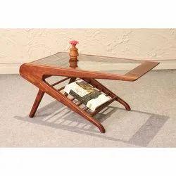 Modern Glass Designer Wooden Centre Table