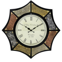 Wooden Star Shave Carving Work Of Brass Analoge Clock