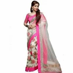 Prabhukripa Silk Net Ladies Net Printed Saree, 6.3m