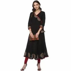 Yash Gallery Women's Cotton Slub Patch Work Angrakha Kurta