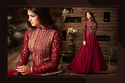 PR Fashion Red Georgette Top Semi Stitched Suit
