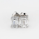 Emerald Cut Stud Earrings 0.51Ct Each Lab Grown Diamonds Def Vvs Vs 18K Gold 1.47Gm