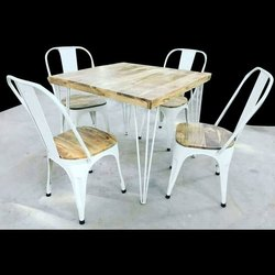 White And Brown Industrial Style Cafe Table Set