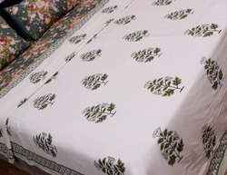 Hand Block Printed Green Floral Design Cotton Pure White Dohar 90x108