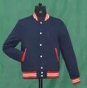 Navy Full Sleeve Knit Collar Fleece Jacket, Hooded: No