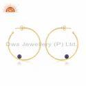 Natural Lapis Lazuli Gemstone Silver Hoop Earrings