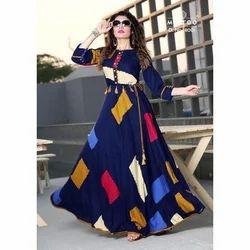 Blue Printed Stitched Long Anarkali Kurti, Size: M to XXL