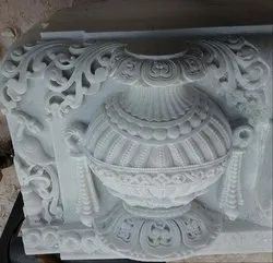 White Marble Pillar Pot Carving Service
