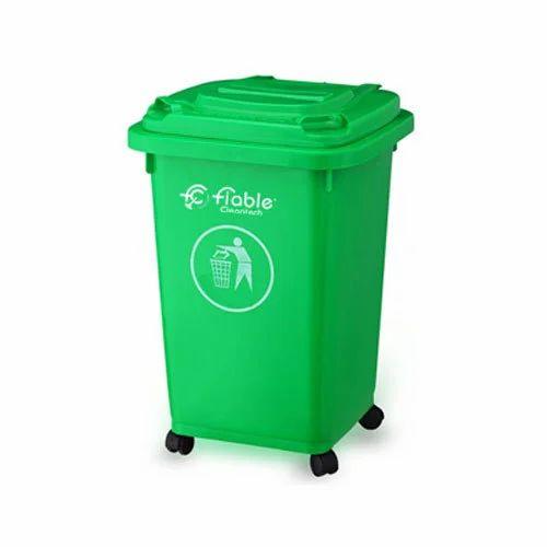Green 50 Liter Industrial Dustbin, Size: L 42 X W 47 X H 65 Cm