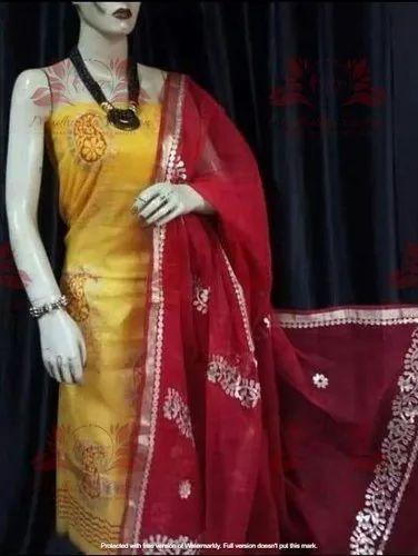 Designer Yellow Kota Doria Gotta Patti Work Dress Material