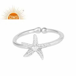 Handmade Star Fish Design 925 Sterling Fine Silver Adjustable Ring Jewelry