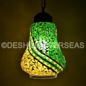 Glass Contemporary Crackle Mosaic Hanging Chandeliers