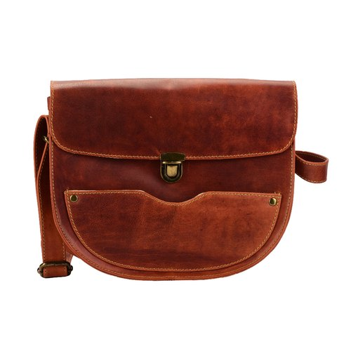Handmade Vintage Style Genuine Leather Crossbody Purse for Women Small Crossover Cross Body Bag
