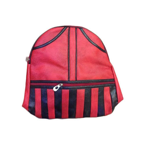 Black And Red Rexine Ladies Backpack
