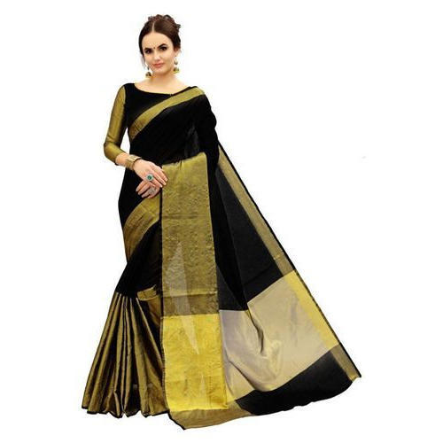 76e8f54b44ed Ladies chanderi black dressy saree length piece jpg 500x500 Dressy black