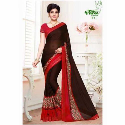 95bf6467986492 Party Wear Cotton Printed Saree, Rs 800 /piece, Katariya Group | ID ...