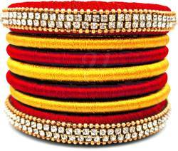 Red And Yellow Silk Thread Bangles Set