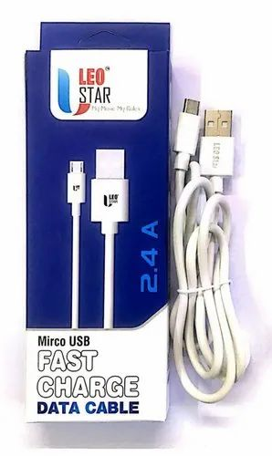 White LEO STAR Micro USB Data Charging Cable
