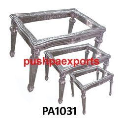 Silver Carved Wooden Table Set