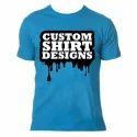 Blue Round Cotton T Shirt