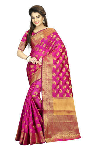 df12d06941 Rani Colour Wedding Wear South Indian Cotton Silk Saree, Rs 1050 ...