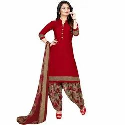 Rajnandini Red Crepe Printed Unstitched Dress Material
