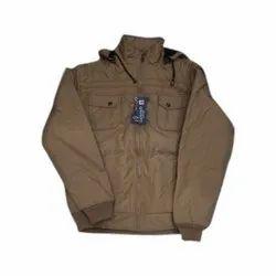 Full Sleeve Casual Wear Men Khaki Cotton Jacket, Size: M-3XL