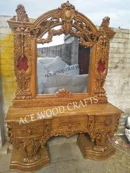 Wooden Hand Carved Royal Luxurious Dressing Table With Antique Style, Broad Design For Bedroom