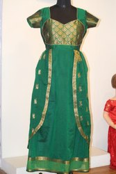 Green Silk Saree Convert Long Dress