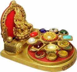 Multicolor Brass Panchdhatu Kuber Chowki, Size: 7 Inches