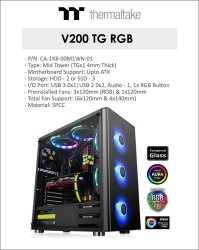 Thermaltake V200 RGB/ Black/ Tempered Glass Cabinet (CA-1K8-00M1WN-01)