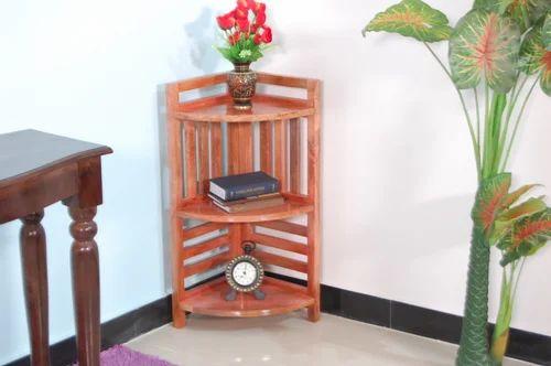 Furniselan Solid Wood Natural Corner Bookshelf
