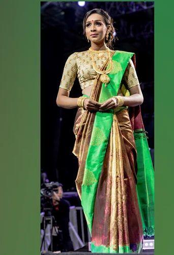 Brown Kanchipuram Pure Silk Saree