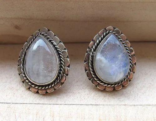 Natural Moonstone Drop Stud Earrings