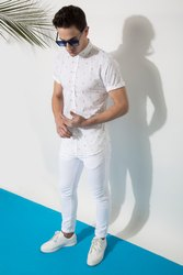 Printed White Full Sleeve Men Casual Cotton Shirt