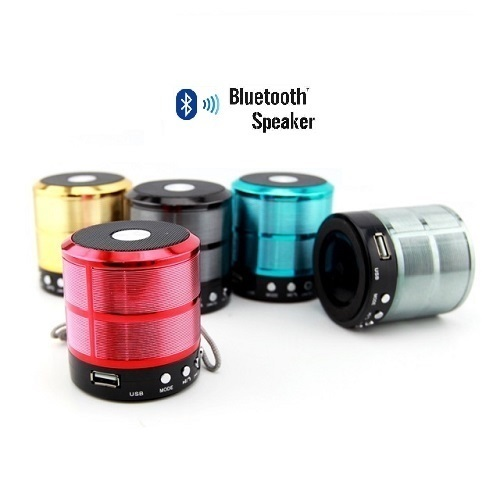 Red and Blue WS-887 Mini Bluetooth Speaker with Aux USB Support, Model No: LPWS887BTSPKR