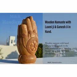 Natural Wooden Carved Namaste Pose
