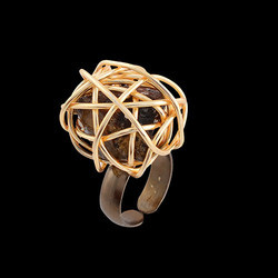 Gold Plated Handmade Wire Wrapped Rough Tourmolian Stone Ring