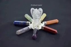 Stone Multicolor Clear Crystal Angel with 7 Chakra Energy Generator