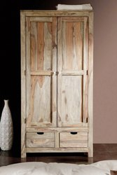 Soni Art Exports Brown Color Solid Wood Almira With 2 Gate & 2 Drawer 37x18x70 inch