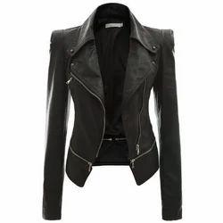 Black Leather Ladies Full Sleeves Jacket