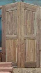 Hingled Polished American Style Teak Wood Door, Size: 7-8 Feet